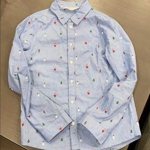 H &M Holiday Blue Button Down Shirt. Size 9-10